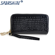 2017 High Quality Black Purse Women Leather Purses Wallets Luxury Brand Wallet Double Zipper Day Clutch Coin Card Bag(China)