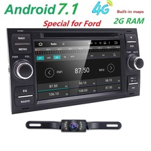 Pure Android 7.1 Car DVD GPS Navi Player Stereo Radio Audio 4G For Ford Focus 2 Mondeo S C Max Fiesta Galaxy Connect With Camera(China)