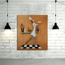 New Design Handpainted Free shipping Oil Paintings on Canvas Art Pictures Lovely Cook Wall Stickers for Home Decor(China)