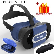 Casque Google Cardboard RITECH 3 D VR Box 3D Virtual Reality Glasses Goggles Headset Helmet Lense Len For Smart Phone Smartphone(China)