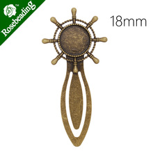 High Quality Vintage Antiqued Bronze wheel Bookmark with 18mm Round Bezel,length:83mm,10pcs/lot-C4238(China)