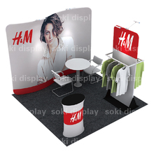 Exhibition Tension Fabric Trade Show Booth Display Advertising Banner Stand 10ft 3x3 With Printing And Pop Up Frame