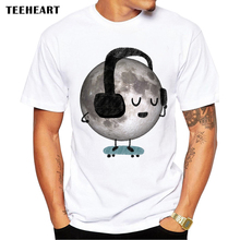 2017 New Arrival Men's Fashion MOON Design O Neck T shirt Cool Tops Short Sleeve Brand Hipster Anime Tees pb238(China)