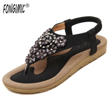 FONGIMIC Summer Women Flat Shoes Comfortable Casual All-Match Beach Sandals High Quality Girl Beach Flowers Elastic Band Sandals(China)