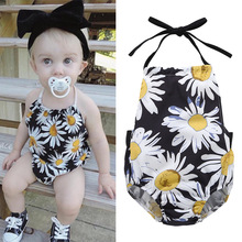 Bestime Flower Baby Bodysuit Girls Summer Sleeveless Halter Shirts Daisy Printed One Piece Infant Clothes