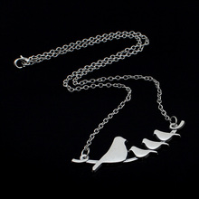 "2017 New Hot Sell Women Jewelry Vintage Silver 4 Birds Pendant Long Necklace 18"" For Wholesale Free Shipping DY40"