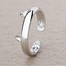 Silver Color Cat Ear Ring Design Cute Fashion Jewelry Cat Ring For Women Young Girl Child Gifts Adjustable Anel Wholesale(China)