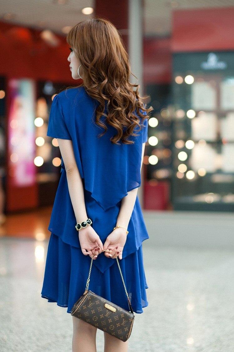 Vestido De Festa Summer Dresses 5XL Plus Size Women Clothing ropa mujer 18 Chiffon Dress Party Short Sleeve Casual Blue Black 14