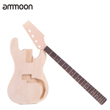 PB Unfinished DIY Electric Bass Guitar Kit Basswood Body Maple Neck Rosewood Fingerboard(China)