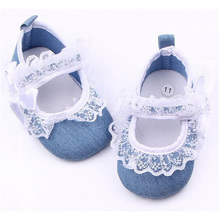 Spring Canvas Baby Girl Shoes Lace Ruffles Soft Sole Denim Autumn Newborn Shoes 11/12/13cm