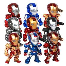 The Avengers Super Hero Iron Man 3 15cm cute Q Version PVC Action Figures Collection Model Toys LED Flash Light Dolls(China)