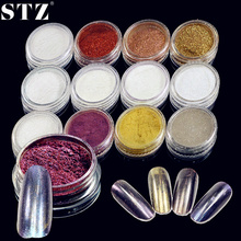 STZ Hot 1g 12 Colors Magic Mirror Powder Nail Sequins Chrome Pigment Nail Art Decorations Dust Polish for Glitter Tips #01-12