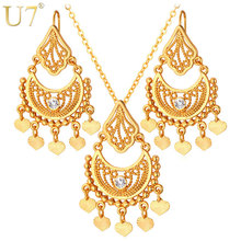 U7 Tassels Moon Drop Earrings And Maxi Necklace Sets Gold/Silver Color Vintage Indian Costume Ethnic Jewelry Set For Women S624(China)