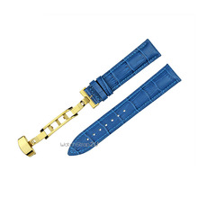 Blue Alligator Crocodile Grain Genuine Leather Watch Band Strap Gold Deployment Clasp Buckle 18mm 20mm 22mm 24mm