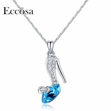 Eccosa Princess Gifts High Heel Shoes Necklaces & Pendants Made Of Genuine Crystal From Swarovski Fashion Jewelry For Women(China)