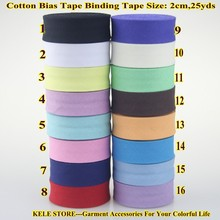 "Free shipping 100% Cotton Bias tape,bias binding tape size: 20mm, width:3/4"" 25yds/lot fold tape,DIY sew material handmade item"
