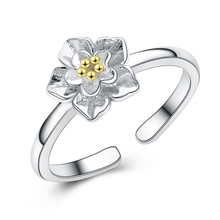 Pure 925 Silver Chrysanthemum Flower Rings For Women Sterling Silver Jewelry Jewellery wholesale Resizable Finger Ring Accessory(China)