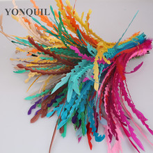 Multiple colors 100pcs/Lot Colored 25-30cm shaped Loose COQUE ROOSTER TAIL FEATHERS/long feathers for fascinator hats&millinery(China)
