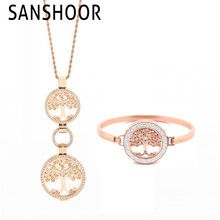 SANSHOOR Most Popular Tree of Life Stainless Steel Jewelry with 1 Pendant Necklace and 1 Double Crystal Bracelets For women
