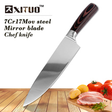 XITUO 8 Inch high quality Very sharp Chef knife 7CR17Mov stainless steel kitchen knives Mirror blade Santoku Knife meat cleaver(China)