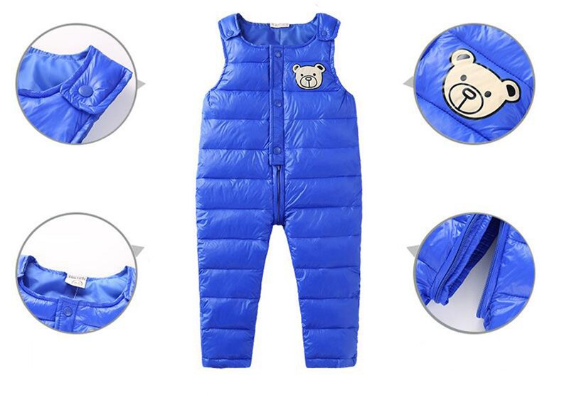 COOTELILI Cotton Winter Overalls Padded Outdoor Romper Pants High Quality Baby Girls Boys Jumpsuit Kids Clothes  90-110cm  (4)