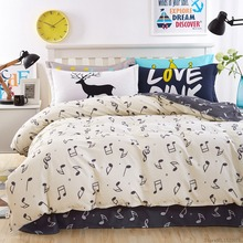 White and black music car fish horse owl girls/boys bedding set  bed linen kids duvet cover sets twin full queen king size