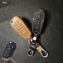 Classic design Leather Key Cover Case Remote Control Key Chain For Ford Focus Explorer 4 buttons protect shell starline a93