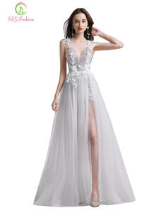 Ssyfashion Evening-Dress Flower V-Neck Formal-Gowns Lace Banquet Backless Party Sexy