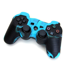 Silicone Protective Skin Case Cover for Sony PS2 PS3 Controller - Black-Blue(China)