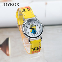 JOYROX Minions Pattern Children's Watch Hot Cartoon Leather Strap 2017 Fashion Kids Quartz Wristwatch Boys Girls Students Clock