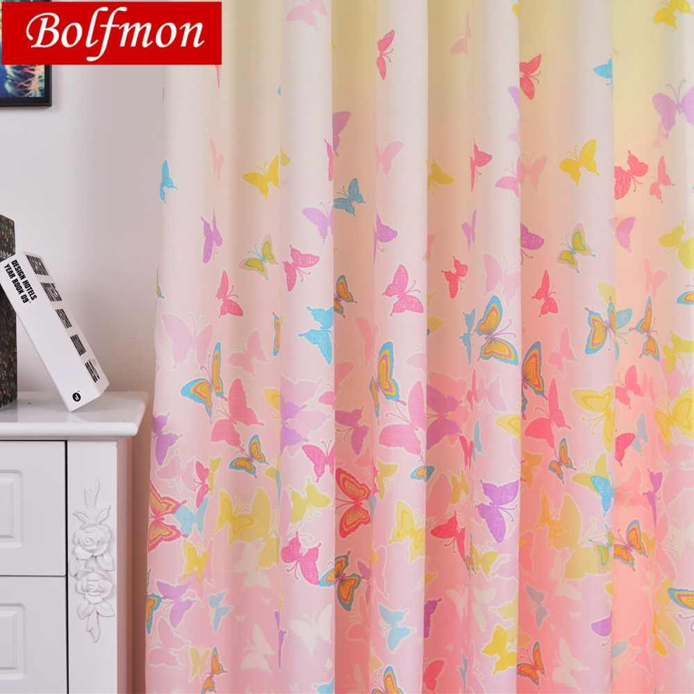 Lovely Japan Korea Pink Window Curtain for Girls Baby Bedroom Cute Lace Colorful Butterfly Princess Window Treatment Living Room