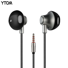 YTOM CT2 original earphone wired earbuds for apple iphone samsung xiaomi huawei smartphone phone metal 3.5 mm jack bass headset(China)