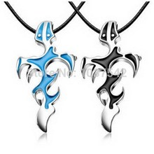 Titanium Stainless Steel Men Jewelry Cross & Sword Necklaces Pendants Black Blue flame courage overbearing Evil necklace H6897 P