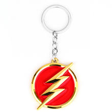 DC Comics The Flash Lightning Keychain Red Gold Logo 6cm Metal Keychain Keyring Gift Key Chain Ring Holder for Car Souvenirs(China)