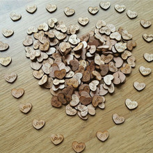 50pcs Rustic Wooden Wood Love Heart Wedding Table Scatter Decoration Crafts NATURAL WOOD COLOR