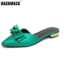 Sexy Female Flats Slippers Women Bowtie Sandals Point Toe Flat Shoes Summer Beach Vacation Leisure Ladies Footwears Size 35-39