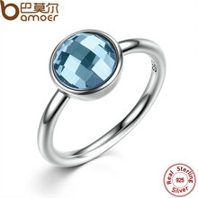BAMOER Summer Collection Pure 925 Sterling Silver Rings Blue Imitated Stone Finger Ring Women Fine Jewelry PA7183