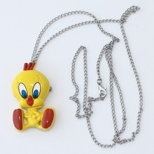 10pcs Brand New Fashion Crystal Tweety Bird Pocket Pendant Key Ring Chain Quartz Dress Watches GL04K Party Gift Watch