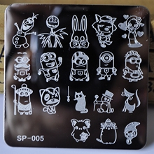 New Manicure Template Nail Stamping Plates Cartoon Characters Designs Image Disc Transfer Print Template DIY nail tools SP-005
