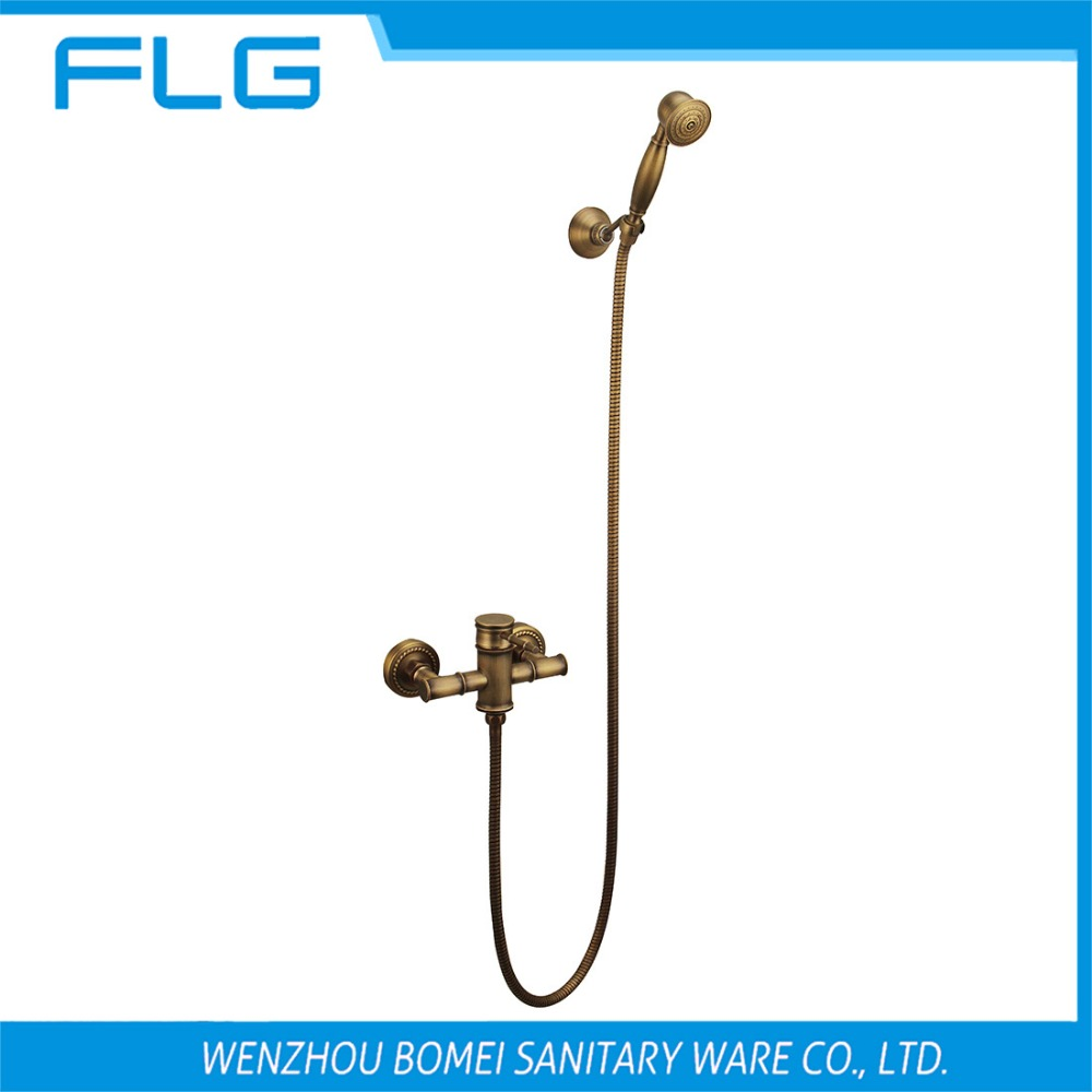Free Shipping HS007 Wall Mounted Single Handle Antique Brass Wall Mounted Faucet With Shower Head, Solid Brass Shower Faucet<br><br>Aliexpress