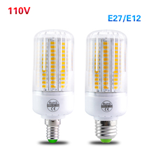 LED E27 E12 Lampada Led 110V 5730 Led Light Bulb Lamp Candle Chandeliers 24 30 42 64 89 108 Leds Corn Bulb Light Radiation Cover