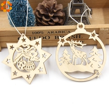 10PCS Christmas Wooden Pendants Deer&Bell Ornaments DIY Christmas Party Decorations Xmas Tree Ornaments Kids Gifts Supplies(China)