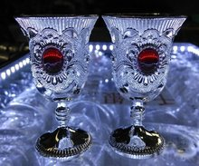 Red Bead Wine Cup jade TIBET SILVER price Factory direct sales Noble Men's wholesale 2pcs Decoration real Tibetan Silver Brass