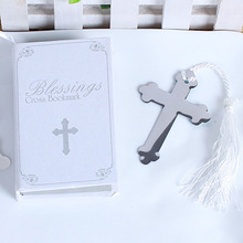 Wholesale Lots 200pcs Gift Box + Silver Pretty Metal Cross Bookmark with tassel For Books wedding favors gifts(China)