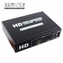 SSRIVER RCA CVBS AV Composite Video S-Video Audio to HDMI Converter Box 1080p AV2HDMI Converter S-Video to hdmi Adapter