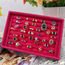 Pink Jewelry Boxes Elegant Rings Display Tray Velvet About 50 Slot Case Box Storage Box Simple Gifts May3017