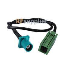 "Fakra Plug ""Z"" Straight to GT5-1S Green Jack Pigtail Cable RG174 30cm Customizing for VW BNW Audi Ham"