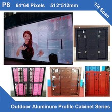 TEEHO 6pcs/lot P8 Outdoor led display panel aluminum profile Cabinet 512mm*512mm 64*64 dots rentalslim screen led video wall