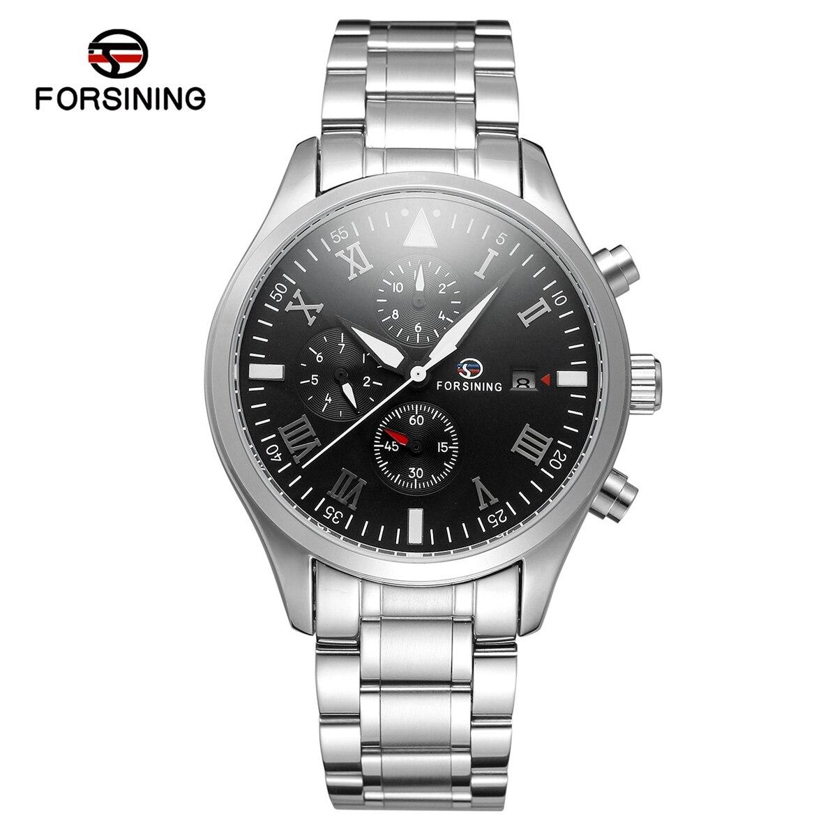 FORSINING Brand Men Watches Automatic Mechanical Watch Sport Clock Steel Casual Business Wristwatch Black relojes hombre<br>