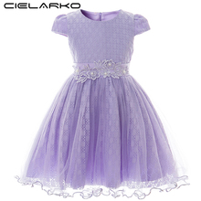 Cielarko Kids Girls Lace Dress Baby Girl Flower Elegant Tulle Wedding Dresses Children Princess Style Summer Clothing 2 to 6 Age
